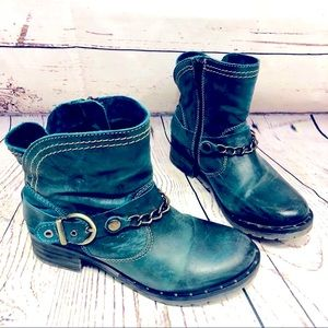Dromedaris Koko Teal Leather Moto Ankle Boots 39